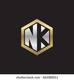 Initial letters NK negative space hexagon shape logo silver gold