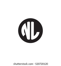 Initial letters NL circle shape monogram black simple logo