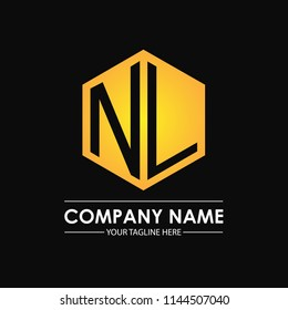 Initial letters NL hexagon shape logo design black gold