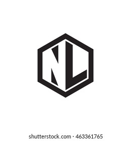 Initial letters NL negative space hexagon shape monogram logo