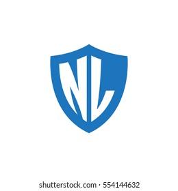 Initial letters NL shield shape blue simple logo