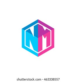 Initial letters NM hexagon box shape logo blue pink purple
