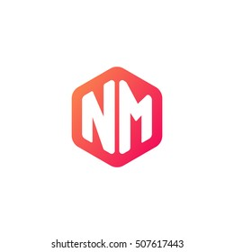 Initial letters NM rounded hexagon shape red orange simple modern logo