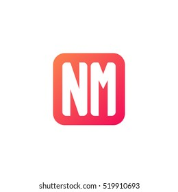 Initial letters NM rounded square shape red orange simple logo