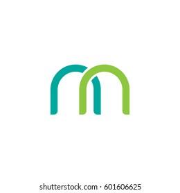 Initial letters nn, round overlapping lowercase logo modern design modern green