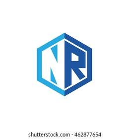 Initial letters NR negative space hexagon shape logo blue