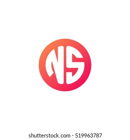 Initial letters NS circle shape red orange simple logo