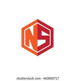 Initial letters NS hexagon shape logo red orange