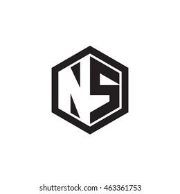 Initial letters NS negative space hexagon shape monogram logo
