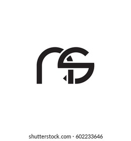 Initial letters ns, round overlapping chain shape lowercase logo modern design monogram black