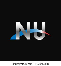 Initial letters NU overlapping movement swoosh logo, metal silver blue red color on black background