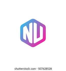 Initial letters NU rounded hexagon shape blue pink purple simple modern logo