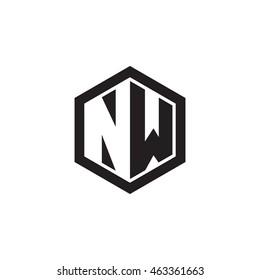 Initial letters NW negative space hexagon shape monogram logo