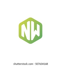 Initial letters NW rounded hexagon shape green simple modern logo
