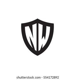 Initial letters NW shield shape black monogram logo