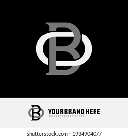 Initial letters O, B, OB or BO overlapping, interlock, monogram logo, white and gray color on black background
