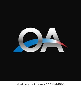 Initial letters OA overlapping movement swoosh logo, metal silver blue red color on black background