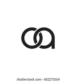 Initial letters oa, round overlapping chain shape lowercase logo modern design monogram black