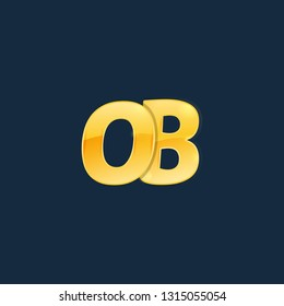 Initial letters OB, O, B with logo design inspiration gold metallic texture, trendy, 3d glossy texture, overlapping, based alphabet logo for media company identity, isolated on black background.