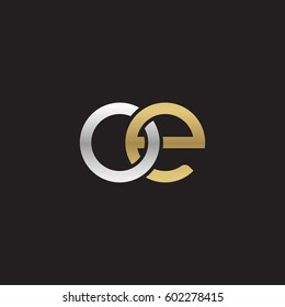 Initial letters oe, round overlapping chain shape lowercase logo modern design silver gold