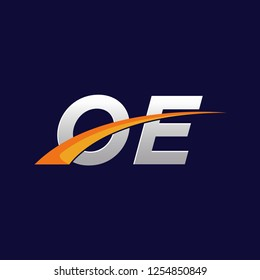 Initial letters OE vector illustrations designs with overlapping orange swoosh vector for company logo on dark blue background.