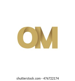 Initial letters OM overlapping fold logo brown gold