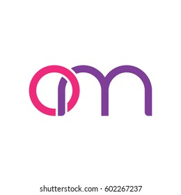 Initial letters om, round overlapping chain shape lowercase logo modern design pink purple