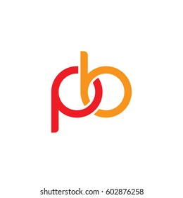 Initial letters pb, round overlapping chain shape lowercase logo modern design red orange