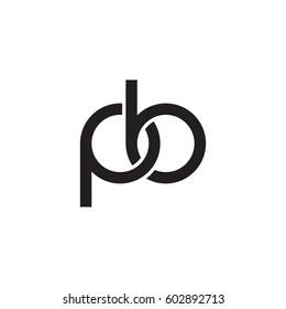 Initial letters pb, round overlapping chain shape lowercase logo modern design monogram black