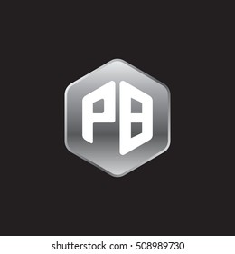 Initial letters PB rounded hexagon shape silver modern logo