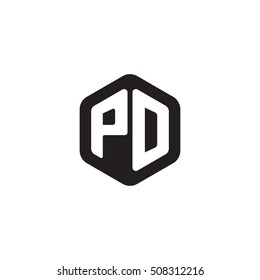 Initial letters PD rounded hexagon shape monogram black simple modern logo