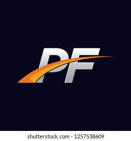 Initial letters PF vector illustrations designs overlapping with orange swoosh vector for company or factory logo on blue dark background.
