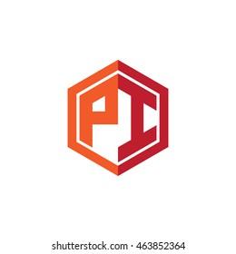 Initial letters PI hexagon shape logo red orange