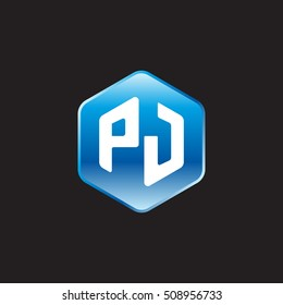 Initial letters PJ rounded hexagon shape blue modern logo