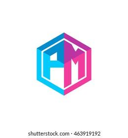 Initial letters PM hexagon box shape logo blue pink purple