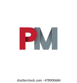 Initial letters PM overlapping fold logo red gray
