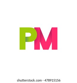 Initial letters PM overlapping fold logo green magenta