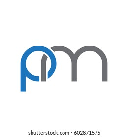 Initial letters pm, round overlapping chain shape lowercase logo modern design blue gray