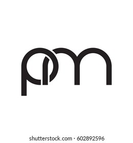 Initial letters pm, round overlapping chain shape lowercase logo modern design monogram black