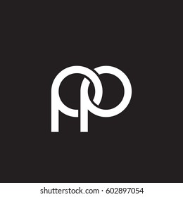 Initial letters pp, round overlapping chain shape lowercase logo modern design white black background