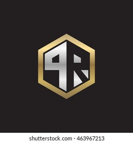 Initial letters PR negative space hexagon shape logo silver gold