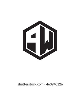 Initial letters PW negative space hexagon shape monogram logo