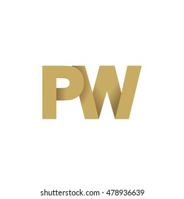 Initial letters PW overlapping fold logo brown gold