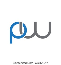 Initial letters pw, round overlapping chain shape lowercase logo modern design blue gray