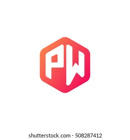 Initial letters PW rounded hexagon shape red orange simple modern logo
