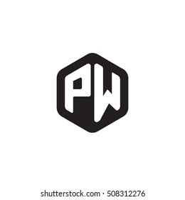 Initial letters PW rounded hexagon shape monogram black simple modern logo