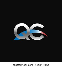 Initial letters QC overlapping movement swoosh logo, metal silver blue red color on black background
