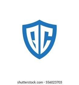 Initial letters QC shield shape blue simple logo