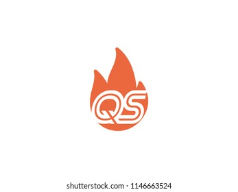 Initial letters QS in fire. Logo vector