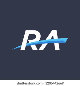Initial letters RA illustrations designs with swoosh vector for company logo.